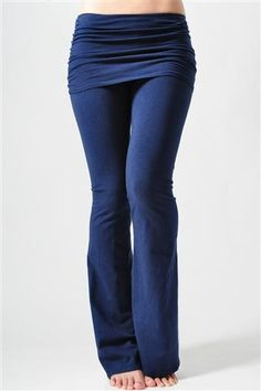 Pranayama Gathered Waist Fold-over Womens Ink Blue Yoga Pants by Jala. This is the best pair of ink blue yoga pants that you can find. Folded over the waist and flared at the bottom for the style that will make you look good and comfortable where you are; yoga studio or just lounging around.  Pinned by KarmicFit | #yoga #yogapants #fitness #exercise #running