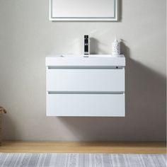 "Orren Ellis Ussery 30"" Wall-Mounted Single Bathroom Vanity Set & Reviews | Wayfair.ca Undermount Sink, Sink Faucets, Engineered Stone Countertops, 30 Inch Vanity, Wood Sink, Single Sink Bathroom Vanity, Bathroom Vanities, Contemporary Frames, Vanity Set With Mirror"