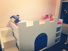 Our daughter wanted a castle bed, so we made her one after looking at all the ikea kura castle bed hacks. So here's our addition to this lovely ikea hack community :-)  We used a Kura bed and a Trofast bin and added the rest.
