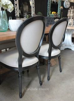 *Sansa Dining Chair - Distressed Black with cream upholstery - Canalside Interiors