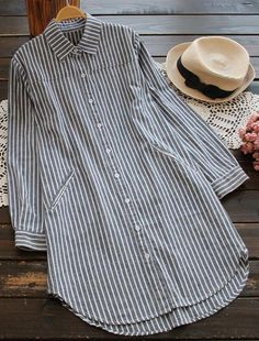 Get this striped shirt top Now with free shipping & easy return! It is detailed with side pockets&lapel collar and it also does button all the way down. Impressed! Search more at Cupshe.com