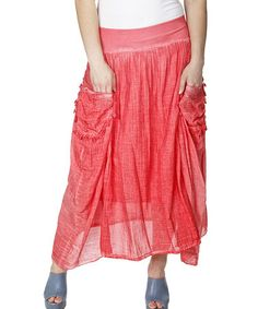 Love this Red Sheer Pocket Maxi Skirt - Plus by Zer Otantik on #zulily! #zulilyfinds