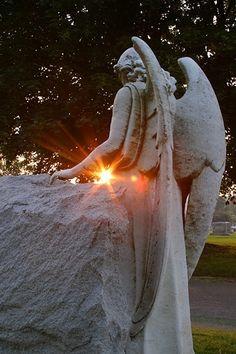 """Angel Statue at sunset, melancholy"" <-- original. Adding: ""Angel statue at sunset, your last sunset."""