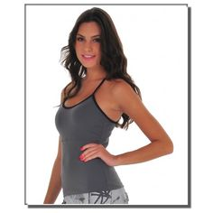 New mesh tank top long, stretchy, and fitted with grey and black. Super light and looks great on! Workout Tops, Brazil, Looks Great, Women's Clothing, Camisole Top, Mesh, Clothes For Women, Tank Tops, Grey