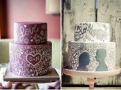 Hand Painted Wedding Cake. I want this for my wedding! #wedding #cake #2014