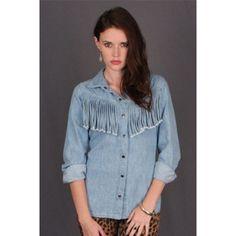 ⚡️BOHO FRINGE BUTTON UP⚡️ Worn once Gypsan Tops Button Down Shirts