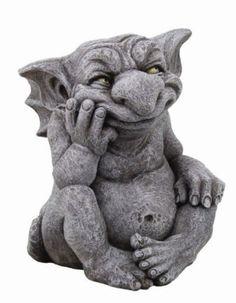 Large-Comical-Goblin-Gargoyle-Scheming-Statue-Sculpture-Grotesque-Handpainted