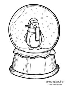 Winter snow globe with a penguin coloring page Print. Snow Globe Coloring Page Coloring Home Snow Globe coloring page Free Pri. Penguin Coloring Pages, Bible Coloring Pages, Christmas Coloring Pages, Adult Coloring Pages, Coloring Books, Coloring Sheets, Christmas Snow Globes, Christmas Colors, Christmas Christmas