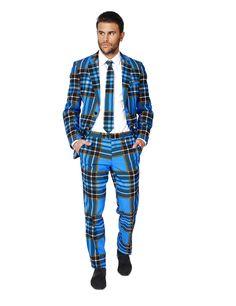 Blaukarierte Schotten Opposuits™-Anzug für Herren in großem Karo-Muster