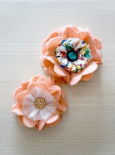 *Contact us for Made To Order*    ~ ColorRain Kids Brooch & Hairclip Pair ~  A pair of peach felt flowers with white tulle and multicolor fabric, finished with a clear orange rhinestone piece and a dark emerald green rhinestone embellishment.  The sm...