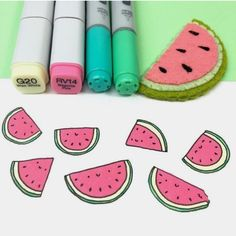 So here's a kawaii watermelon doodle for you :) Pen used: Faber Castell Pitt Artist Pen S Markers used: Copic . Copic Drawings, Kawaii Drawings, Doodle Drawings, Easy Drawings, Doodle Art, Marker Drawings, Food Doodles, Kawaii Doodles, Cute Doodles
