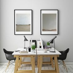 Happy to share more new artworks in our gallery - Marilina Marchica displays her recent 'Landscapes': oil on canvas (left) and mixed-media (right). Great choice for abstract art fans! Art in interior design: home office/ workspace decor