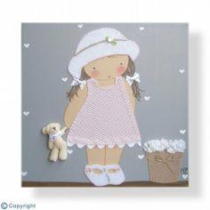 Cuadro infantil personalizado: Niña con sombrero (ref. 12009-11)