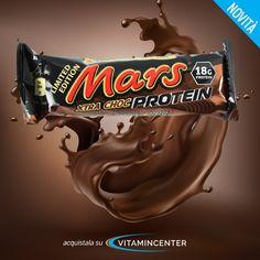 Nuova barretta LIMITED EDITION >> XTRA CHOC PROTEIN <<  Tutto il gusto di Mars, ora con Doppio Cioccolato e 18 g di Proteine! Acquistala su Vitamincenter! Protein Bars, New Product, Candy, Food, Quest Protein Bars, Sweets, Meals, Candy Bars, Yemek