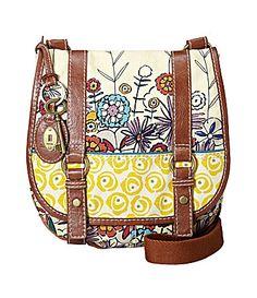 "Fossil ""Brooke"" Floral Flap Cross-Body Bag, $88"