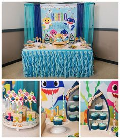 Baby-Shark-Themed First Birthday Party at Knights of Columbus in Hamden, CT. #BabySharkTheme #FirstBirthdayParty #BirthdayPartyIdeas #BabySharkDecor #BabySharkDessert #DessertTable