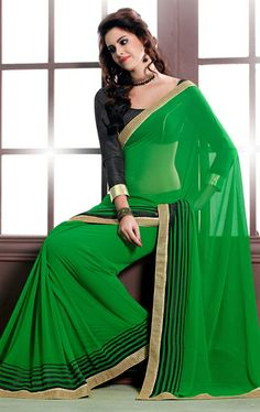 Royal Green Color Indian Georgette Saree HSPCHAN516 - www.indianwardrobe.com