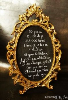 Gold and Glittered Frame and Print - Anniversary Party Decor. Anniversary Party Decor, also an excellent idea for a big birthday (Sweet All you need is the supplies and a calculator! 50th Wedding Anniversary Decorations, 60th Anniversary Parties, Golden Wedding Anniversary, Diy 50th Party Decorations, 25 Year Anniversary Gift, Silver Anniversary, Table Decorations, Mom Dad Anniversary, Anniversary Frames
