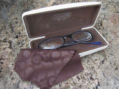 Coach Ivory White Monogram Embossed Prescription Eyeglass Hard Case Authentic   eBay