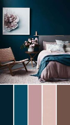 Add interest to your living room with a fresh living room color scheme ideas. Living room color schemes that will make your space look professionally designed. Browse our living room color inspiration gallery to find best color & paint palette ideas. Next Bedroom, Home Decor Bedroom, Room Color Ideas Bedroom, Diy Bedroom, Best Bedroom Colors, Colors For Bedrooms, Navy Master Bedroom, Mauve Bedroom, Calm Bedroom
