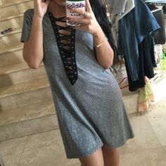 Heather gray lace up T-shirt dress One of a kind! Just using LF to get more viewers! Just like the one from LF LF Dresses Midi