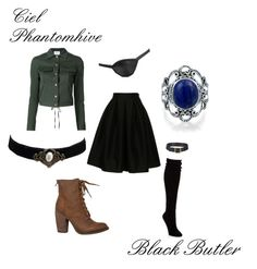 """Ciel Phantomhive- Black Butler"" by phinexe ❤ liked on Polyvore featuring Fashionomics, Rosie Assoulin, Hue, Bling Jewelry, Rebels and Masquerade"