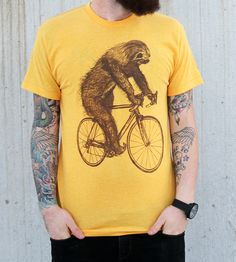 Sloth On A Bike T-Shirt | Men's T-Shirts | Dark Cycle Clothing | Scoutmob Shoppe | Product Detail