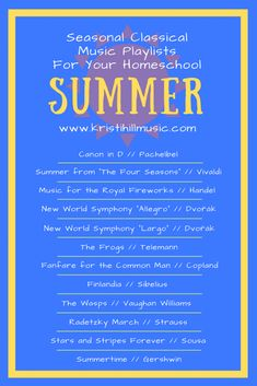 Classical Music Playlists for Your Homeschool: Summer – Kristi Hill Music - Music World 2020 Flute Problems, Band Problems, Piano Lessons, Music Lessons, Classical Music Playlist, Marching Band Humor, Summer Playlist, Band Jokes, Reading Music