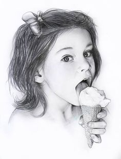 """""""Ice cream"""" Draw in pencils by Flopy Valhala #character #design #illustration #drawing #comics #conceptart #flopy #valhala #icecream #kid #girl"""