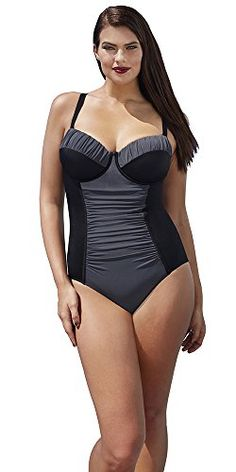 32acd2d4dce81 Tropiculture Womens Plus Size Charcoal Control Underwire Swimsuit 18 Black    More info could be found