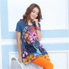 e38f1d001e Desigual Style 2014 Summer New Korean Loose Nation Beauty Printing Long  section Women Short Sleeve T