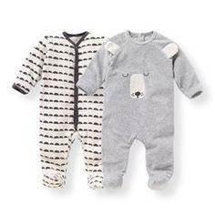 Pyjama naissance velours 0 mois-3 ans (lot de 2) R mini