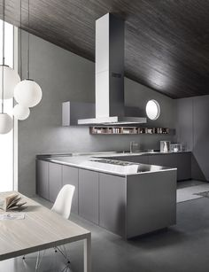 Italian Modern Design Kitchens - One by Ernestomeda Modern Kitchen Design, Interior Design Kitchen, Modern Design, Kitchen Designs, 1 Peter, First Kitchen, Layout, Oak Doors, Home Upgrades