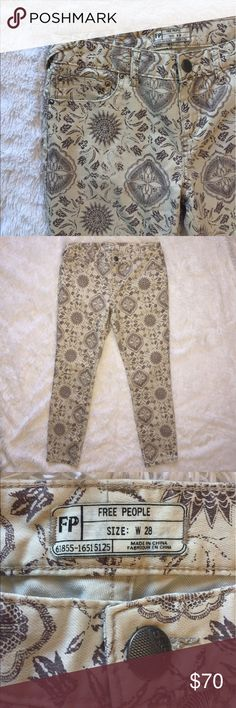 "Free People patterned jeans Free People patterned jeans. Super unique and cool! Length approx 34.5"". Five working pockets. In mint condition! Never worn, too big for me! Belt hoops. Beige color with brown pattern/design throughout. Please feel free to ask any questions if you're interested in these! :) Free People Jeans"