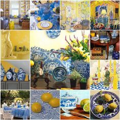 The French Tangerine: ~ blue and yellow #FrenchCottage