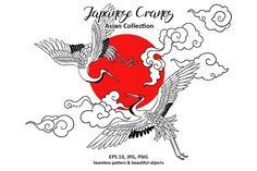 Textile Pattern Design, Graphic Design Pattern, Graphic Patterns, Pattern Art, Crane Drawing, Cloud Drawing, Japanese Drawings, Japanese Artwork, Crane Tattoo