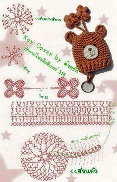 Resultado de imagen para how to make amigurumi mushroom key cover Crochet Diagram, Crochet Doll Pattern, Crochet Chart, Love Crochet, Crochet Gifts, Crochet Motif, Diy Crochet, Crochet Dolls, Crochet Flowers