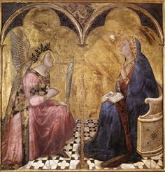 Ambrogio Lorenzetti, Annunciazione, 1344, Pinacoteca Nazionale, Siena ~ Ambrogio Lorenzetti (Siena, ca.1290-Siena, 1348) was an Italian painter of the Sienese school. His elder brother was the painter Pietro Lorenzetti. They were the first Sienese to adopt the dramatic quality of the Tuscan sculptor Giovanni Pisano and the naturalistic approach of the Florentine painter Giotto