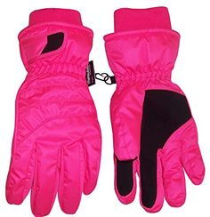 N'Ice Caps Kids Bulky Thinsulate and Waterproof Ski Glove With Ridges (10-12yrs, Neon Pink) -- More details @