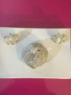"""Silver Tone """"Mirador"""" Pin Brooch & Earrings Demi Parure by Monet"""