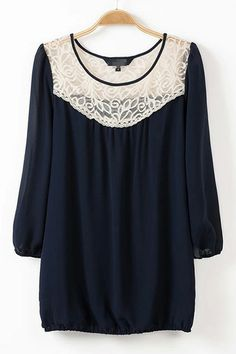 Fashioned Lace Splice T-shirt in Navy [DLN0958] - PersunMall.com