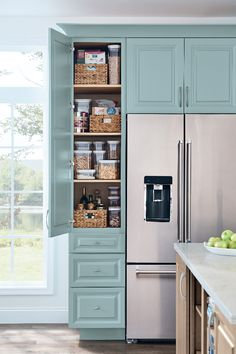 #Kitchen #cabinet #ideas for every lifestyle! #Storage #ideas to make your life easier! Check out this customized #blue #pantry cabinet with #drawers.