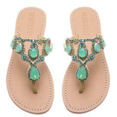 c4e6de3df1d Crawley- Women s Opal Green Embellished Sandals
