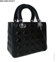 Сумка Christian Dior модель Lady Dior из натуральной кожи черного цвета с серебристой фурнитурой
