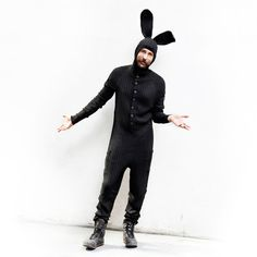 Black Bunny Adult Jumpsuit for Men and Women - Cotton Knit - Bendable Ears - Fluffy Tail - Designer Easter Bunny Costume - Blamo Toys