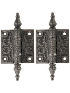 """Surface Hinges. Pair of Decorative Cast Iron Cabinet Hinges - 2"""" x 2"""".  Two hundred sixty bucks to do every cabinet in my kitchen.  But they're pretty!"""