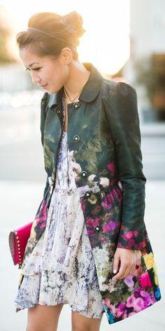 Khaki Multi Floral Coat by Wendy's Lookbook...... love the coat