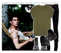 """""""Imagine Thomas Seeing You For the First Time In The Glade"""" by xdr-bieberx ❤ liked on Polyvore featuring Ann Demeulemeester, Vivienne Westwood Anglomania and Balmain"""