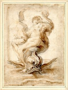 Giovanni Lorenzo Bernini - - A nereid reclining on a dolphin and holding a scarf above her head Black chalk and brown wash. Gian Lorenzo Bernini, Drawing Studies, Drawing Projects, Old Master, Figure Drawing, Mythology, Sculptures, Carving, Sketches
