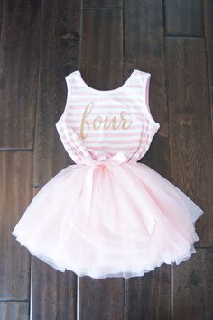 Fourth birthday outfit dress with gold letters by GraceandLucille